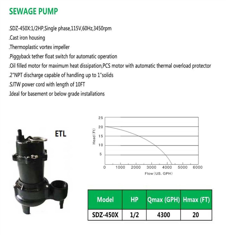 SEWAGE PUMP SDZ-450X