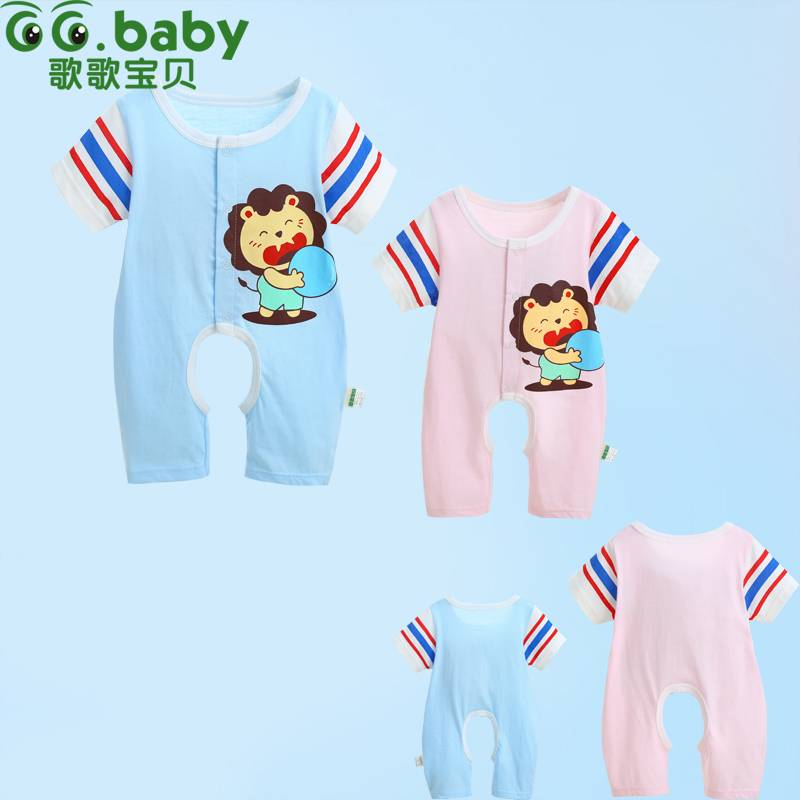 Short Sleeve Summer Cotton Romper For Babies Animal Girls Rompers