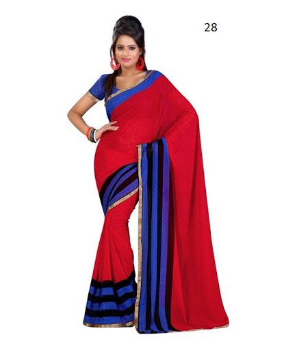 Plain Chiffon Saree With Border