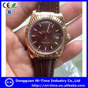 Fashion quartz movt china manufacturer genuine leather mens watch