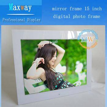 Mirror frame 15 inch digital photo frame with usb driver
