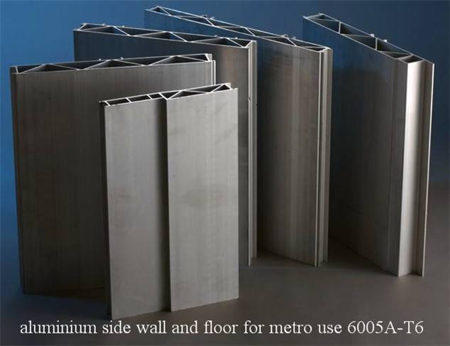 extruded hollow aluminum profile for car body or metro system