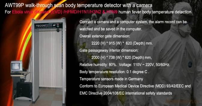 walk-through MERS & Ebola virus body temperature detector with camera
