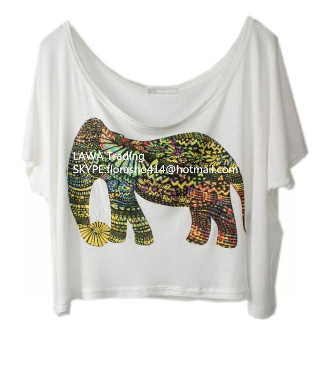 girl's loose t-shirt with elephant