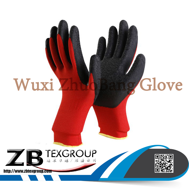 high quality Sandy black latex coated nylon liner hand gloves for construction work