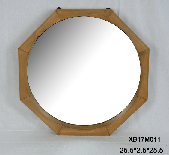 Unique hexagonal large mirrors, antique wooden frame
