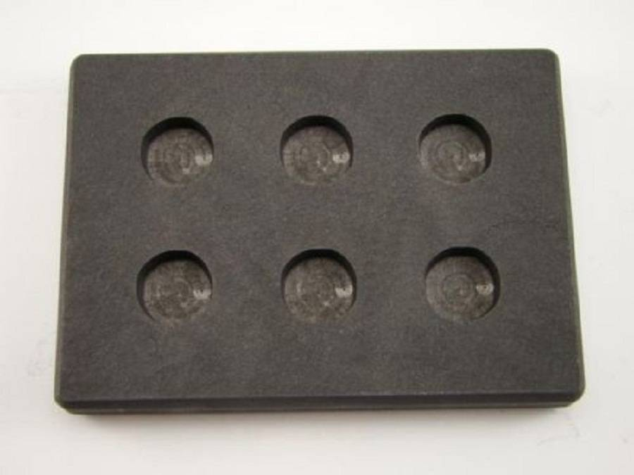 6 Round Cavity 1 Troy oz gold Graphite Ingot Mold Outside 12763.513.7mm/Melting Refining Cast Meta