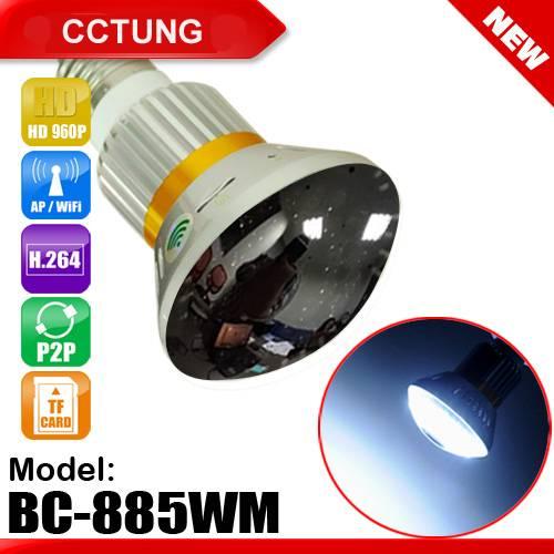 Mirror Bulb WiFi/AP HD960P P2P IPCamera with 5W White LED Light