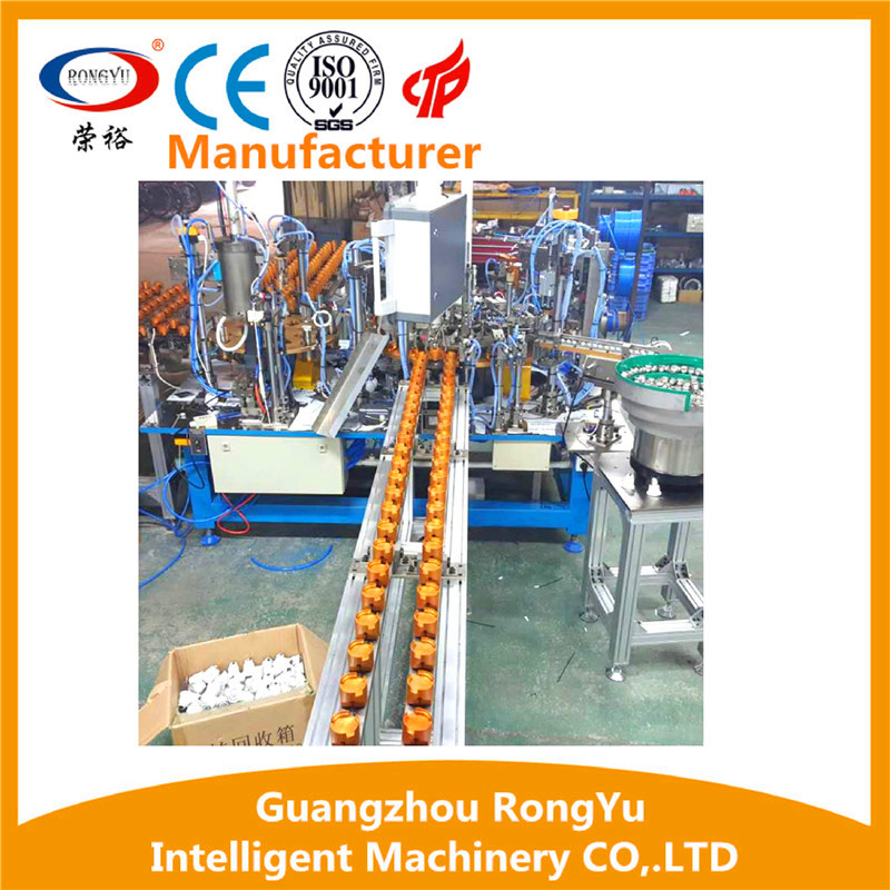 Rotary type LED bulb light semi-automatic assembly line