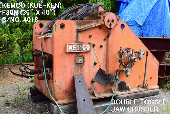 "USED KEMCO KUE-KEN MODEL F80N (36"" X10"") DOUBLE TOGGLE JAW CRUSHER S/NO. 4018 WITHOUT MOTOR FOR SALE"