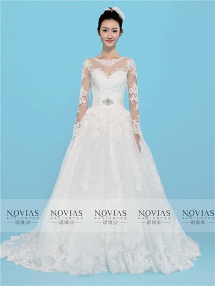 Long Sleeve Beaded Belt Lace Ball Gown Wedding Gown