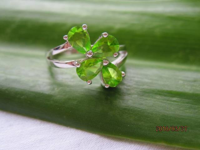 peridot cubic zirconia siolver ring,925 silver jewelry,gemstone ring