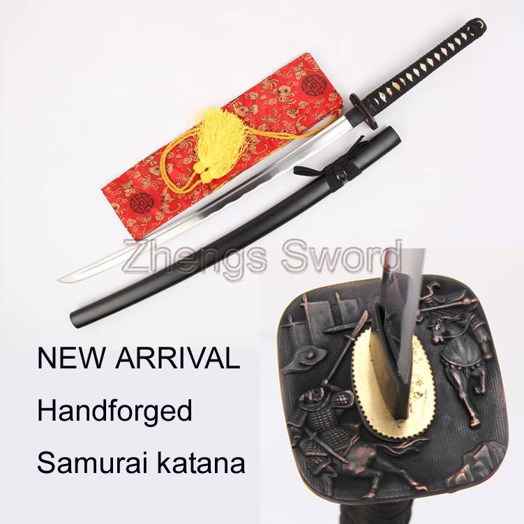 Handforged traditional Katana Sword High quality Carbon steel 1045 Long Hi Black saya cavalier palad