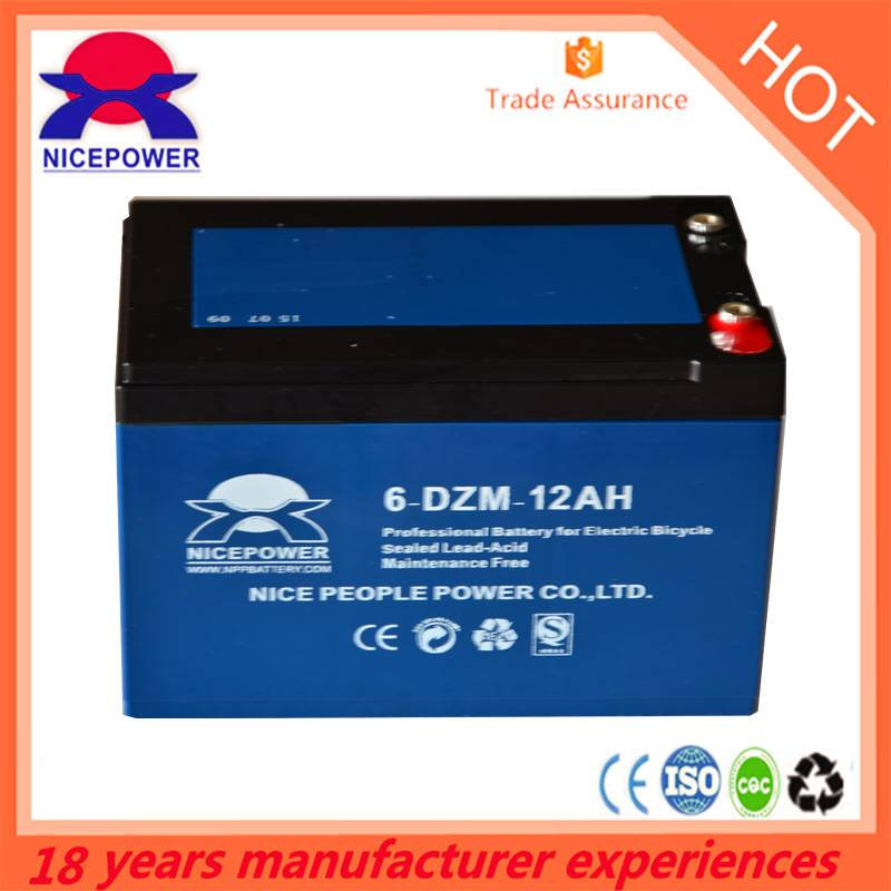 12v 6-dzm-12 e-bike lead acid battery with CE/ISO Certificate