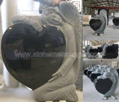 Angel Carving Shanxi Black Granite Monuments, Tombstones, Memorials, Headstones