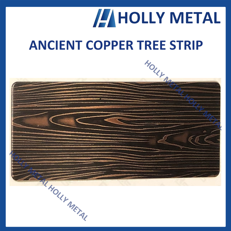Stainless Steel Pattern Embossed Etched Decoration Sheet (Ancient Copper Tree Strip)
