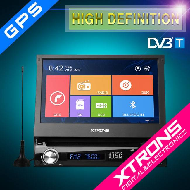 One Din 7 Inch Motorized Detachable HD Touch Screen DVD GPS Navigator with DVB-T