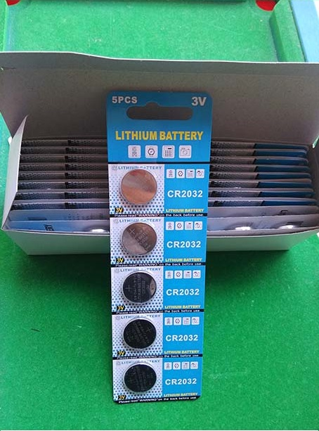 CR2032 3v button cell battery, 5pcs per pack