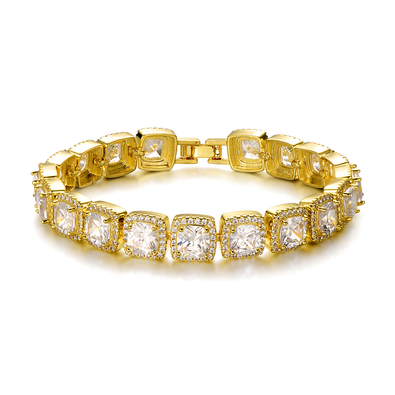 Hip Hop 10MM Bling Iced Out Tennis Chain Square Lattice AAA CZ Stone Gold Silver Cubic Zircon Choker