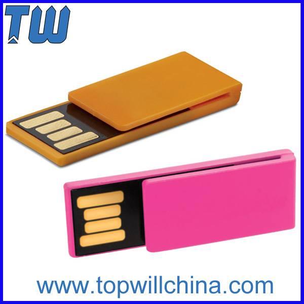 Slim Mini Plastic Paper Clip Pen Drives 16GB 32GB