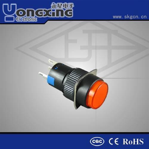 CQC CE IP40 blue latching 16mm illuminated momentary push button switch 120v