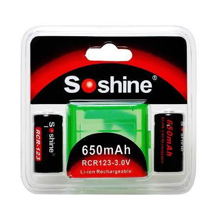 Soshine Li-Ion 16340 RCR123 650mAh 3.0V Battery