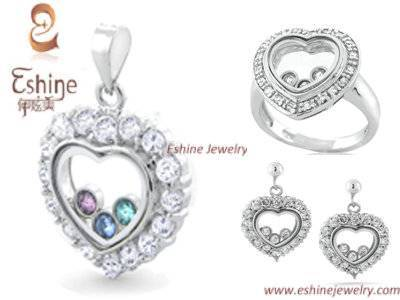 2015 Hot Sale Sweet Heart 925 Sterling Silver CZ jewelry set with clear CZ stones for Ladies