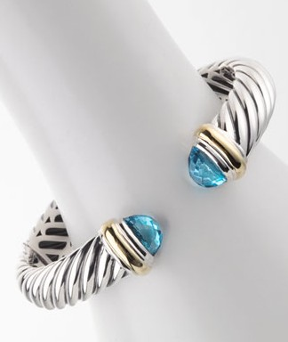 High Quality Sterling Silver Designs DY 10mm Blue Topaz Waverly Cable Bracelet