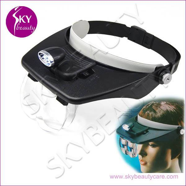 Head Magnifying Lamp For Beauty Salon, 2 LED Magnifier Glass