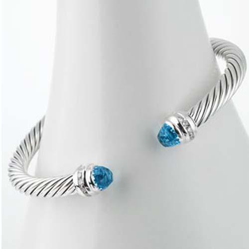 Women Fashion 925 Silver Inspired DY 5mm Blue Topaz Silver Bracelet