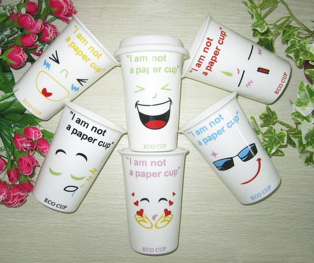 Good Quality Cartoon Double Wall Ceramic Cups