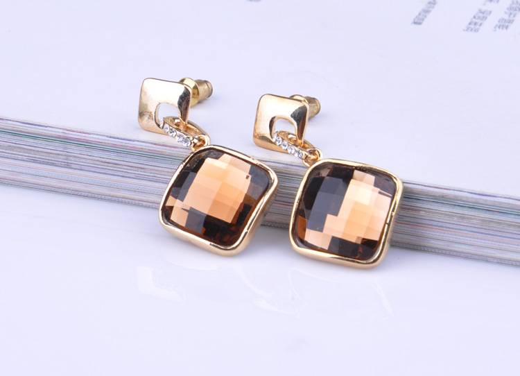 Square Crystal Pendant Earring For Woman Gift