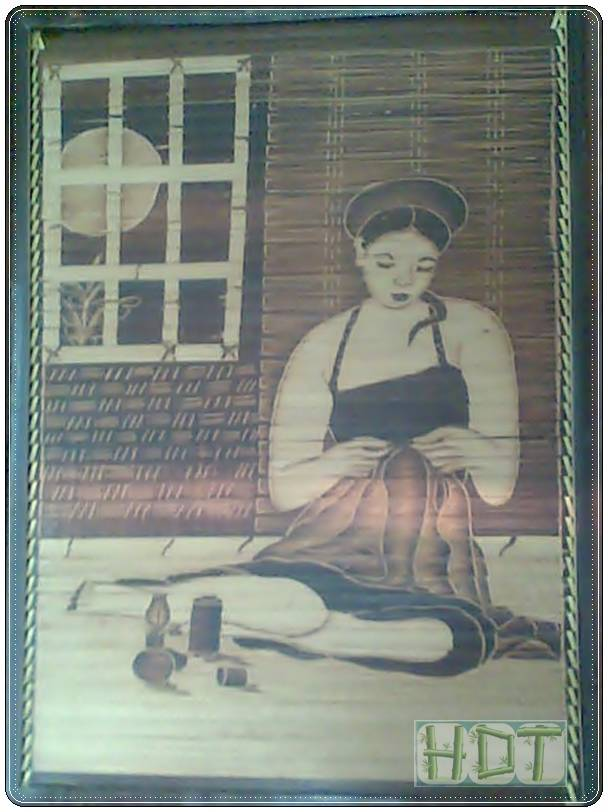 Shaving Smoked Bamboo Painting Portraits (The Woman Sewing the Clothes Artwork)_ This Is Not Painted