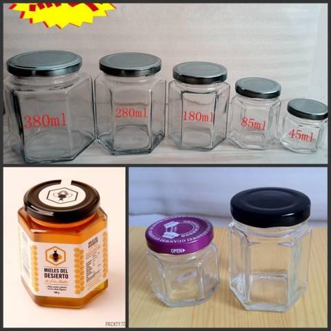 Glass beverage bottles, glass cans bottles, glass bottles of honey