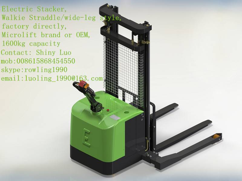 Walkie straddle/wide-leg Electric Stacker, 1600KG capacity, Microlift brand or OEM, factory