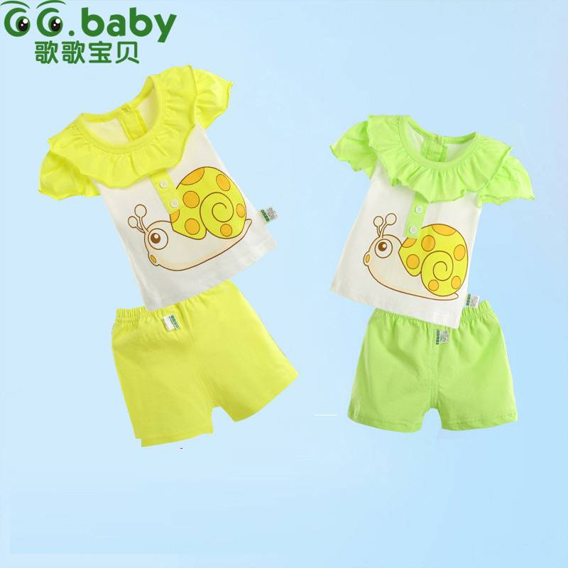 2015 100%Cotton Character Summer Baby Sets Green Yellow Newborn Set Shirt+Shorts Baby Boy Girl