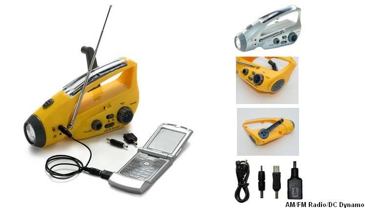 FL-288CS Solar/crank dynamo torch with FM/AM radio, DC dynamo
