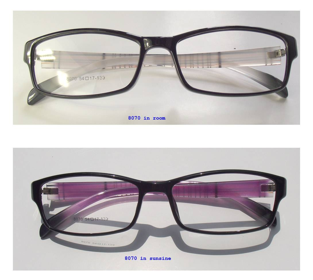 light TR90 frames with photochromic temples