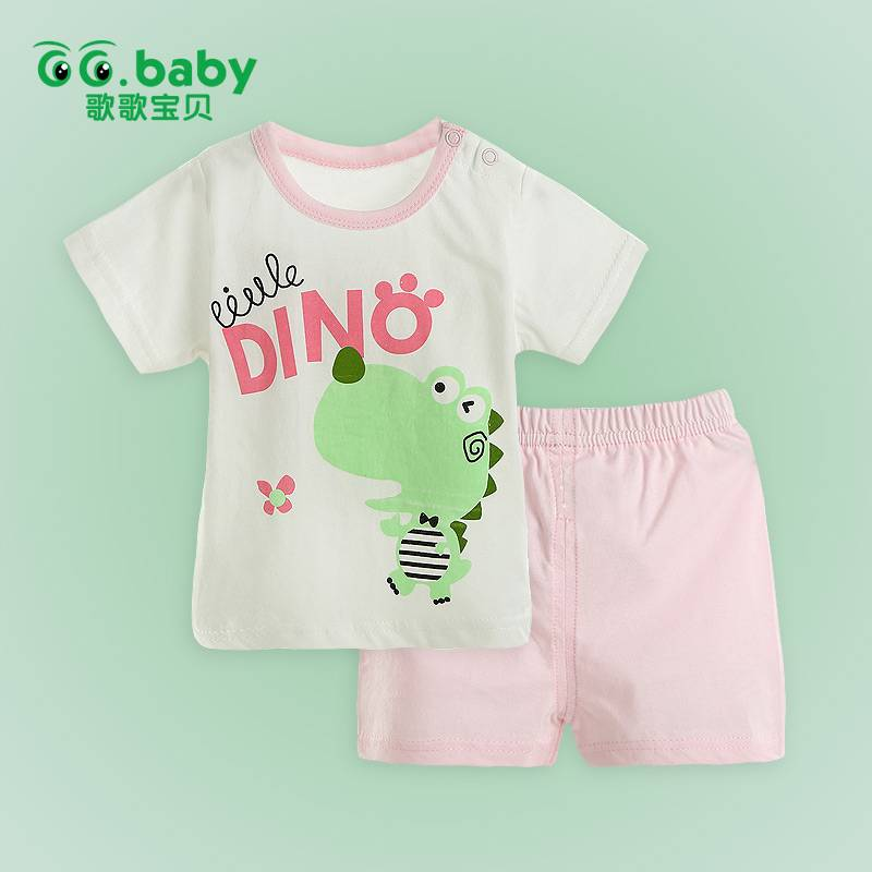 2015 Pink Short Sleeve Summer Baby Sets Tshirt+Shorts Cotton Baby Boy Girl Clothes Set