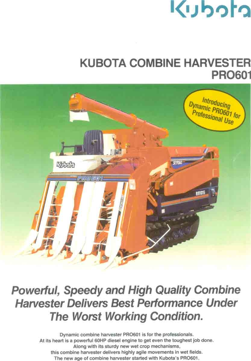Sell Used Kubota Combine Harvesters and Spare Part