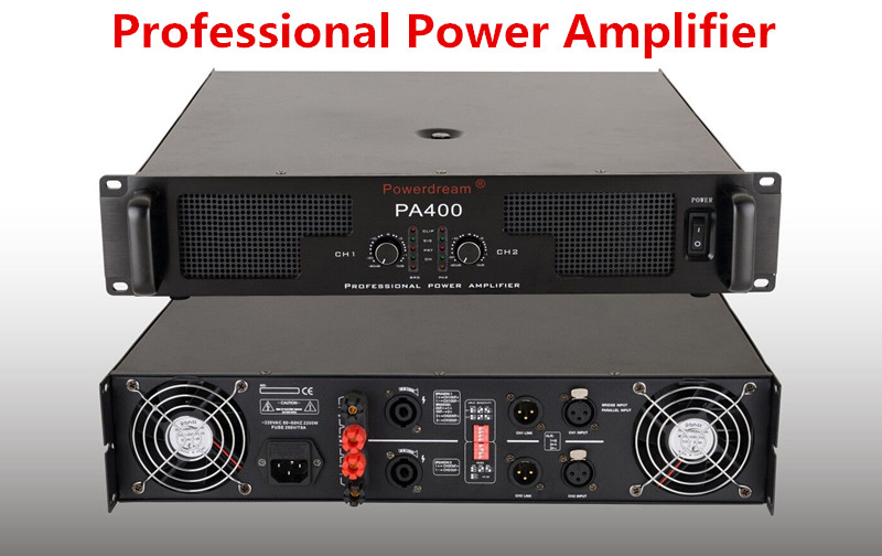 400W 2 channels professional power amplifier with superior sound quality