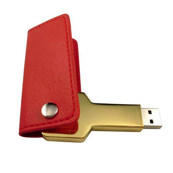 Metal Key USB Flash Disk with Leather case, Luxury USB Flash Drive for Promotion