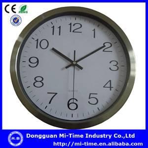 China supplier quartz analog silent round metal wall clock