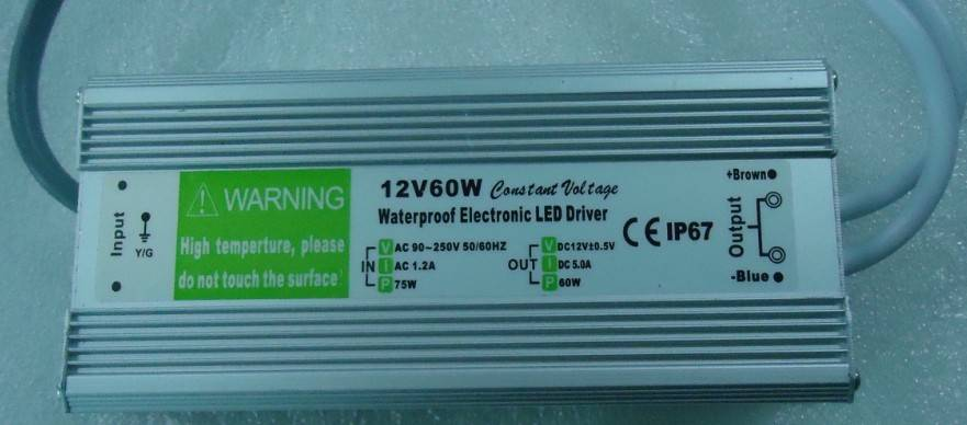 IP67 Waterproof constant voltage 60W led driver, 12V DC led Power Supply