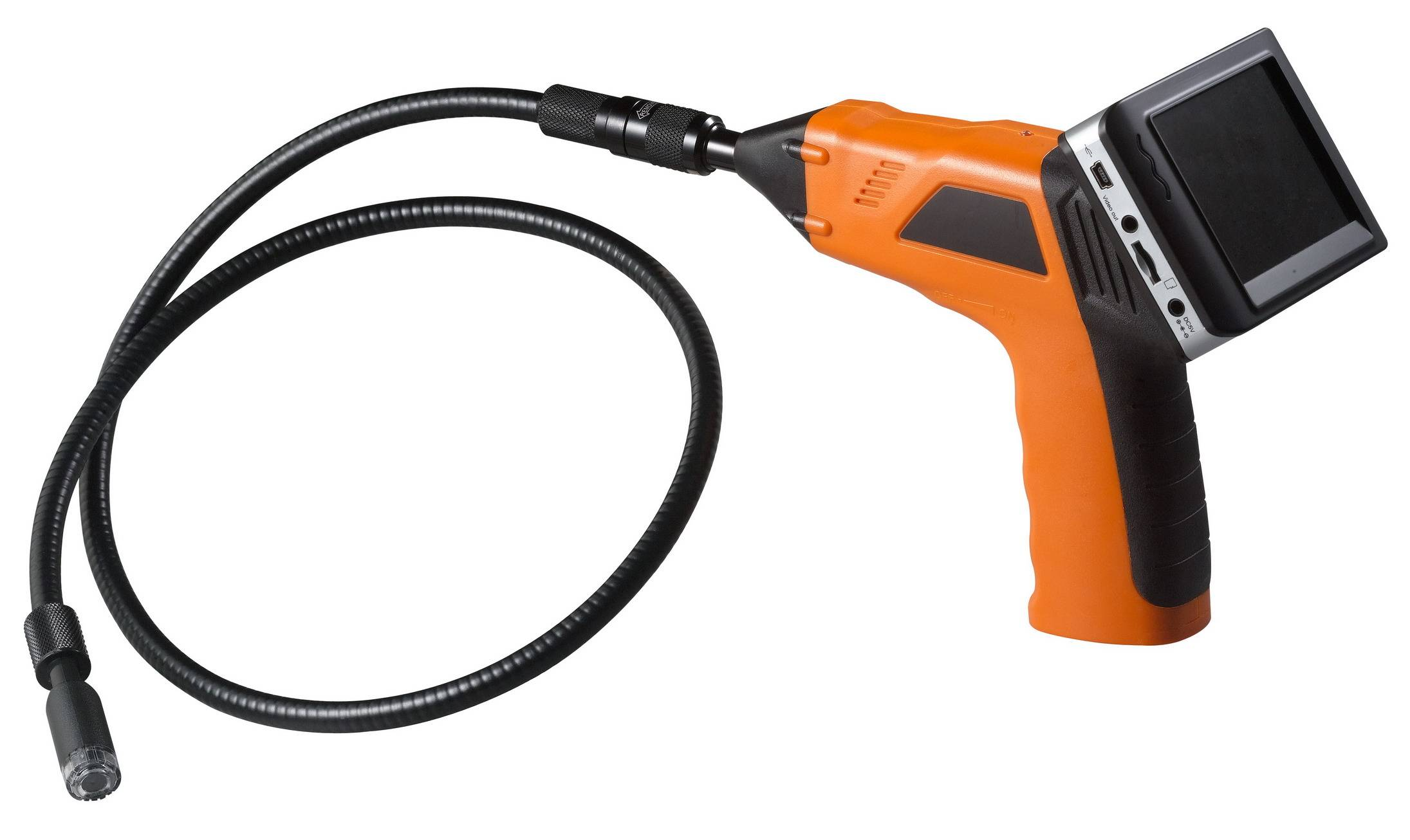 Snake video borescope camera with recordable monitor
