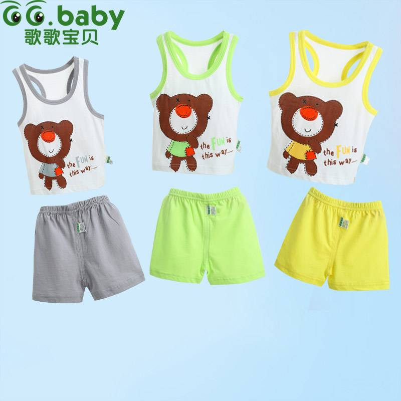 2015 100%Cotton Summer Baby Clothing Sets For 0-18M Newborn Baby Girl Boy Clothes
