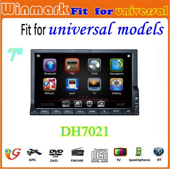 factory universal 7 HD touch screen 2din car dvd with gps radio usb port BT RDS DH7021