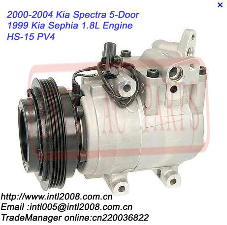 HS15 PV4 A/C Compressor for 2000-2004 Kia Spectra 5-Door / Kia Sephia 1.8L from 1999 OEM#1K2N561450A