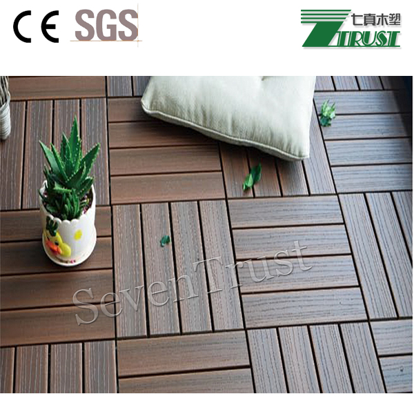 Waterproof non slip co-extruted wpc DIY decking for balcony and patio terrace