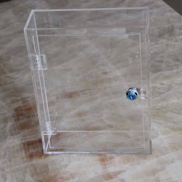 Custom simple design rectangular waterproof clear acrylic donation box acrylic suggestion box